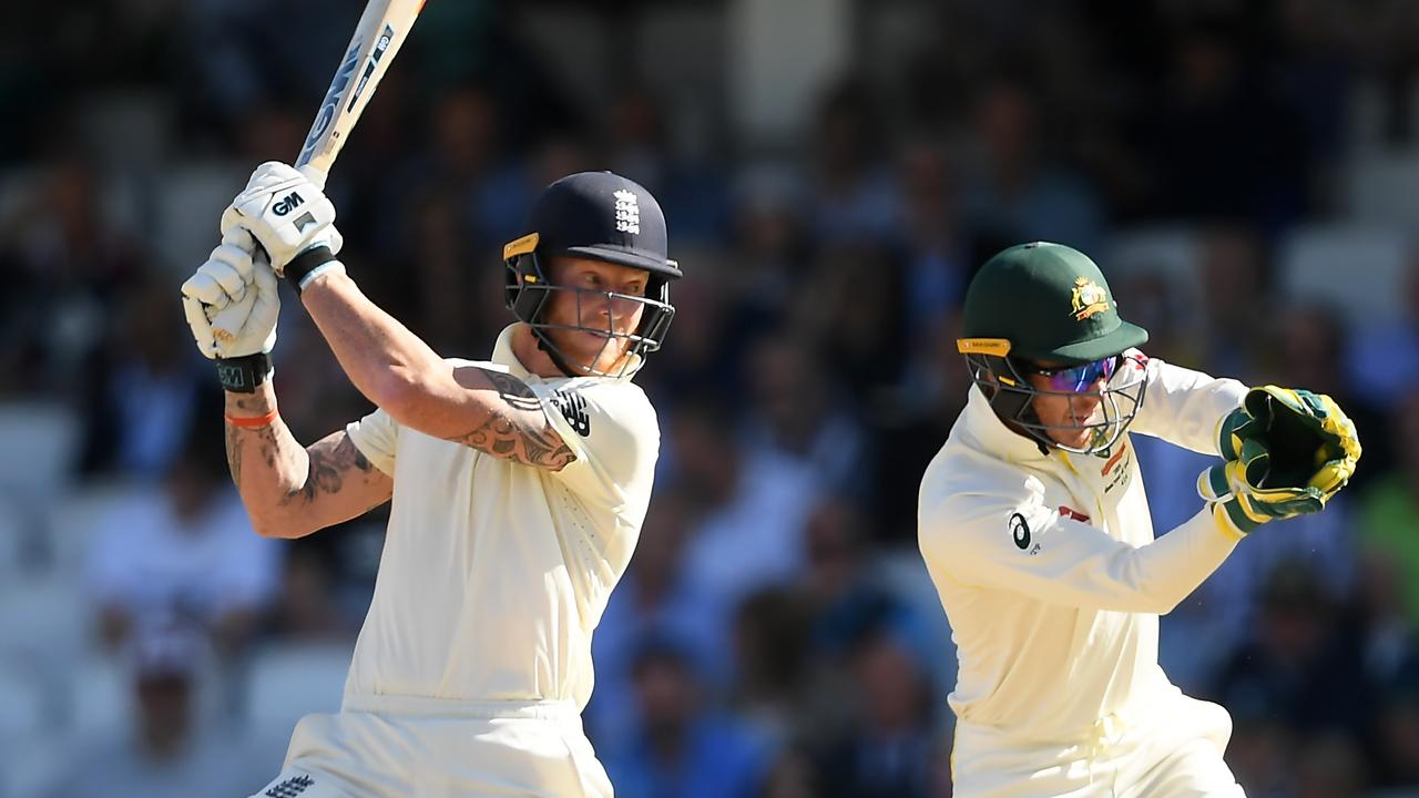 Ben Stokes (batting) and Matthew Wade exchanged words but there was nothing in according to wicketkeeper Tim Paine. Picture: Alex Davidson/Getty Images