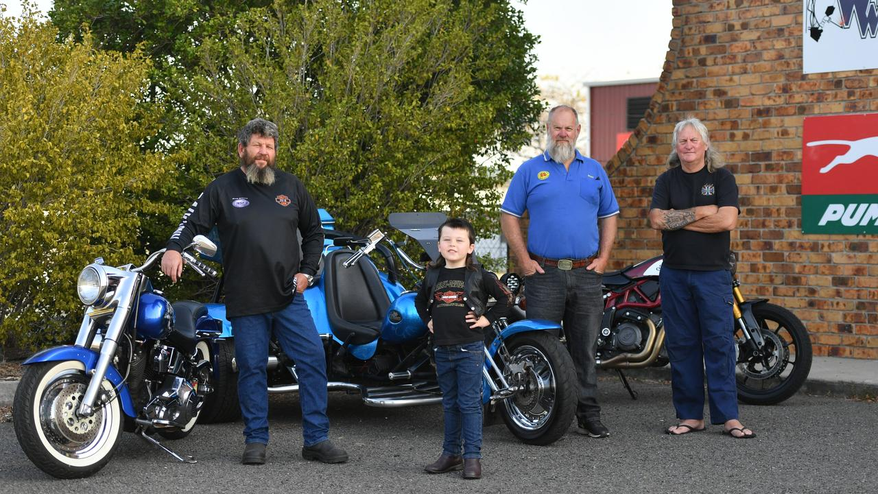 Daly's Gym will host its annual motorcycle fundraising ride on September 21 to raise money for Lindsay Smith. Pictured: Mick Daly, Mack Daly, Bruce Baldwin and Gary Anderson