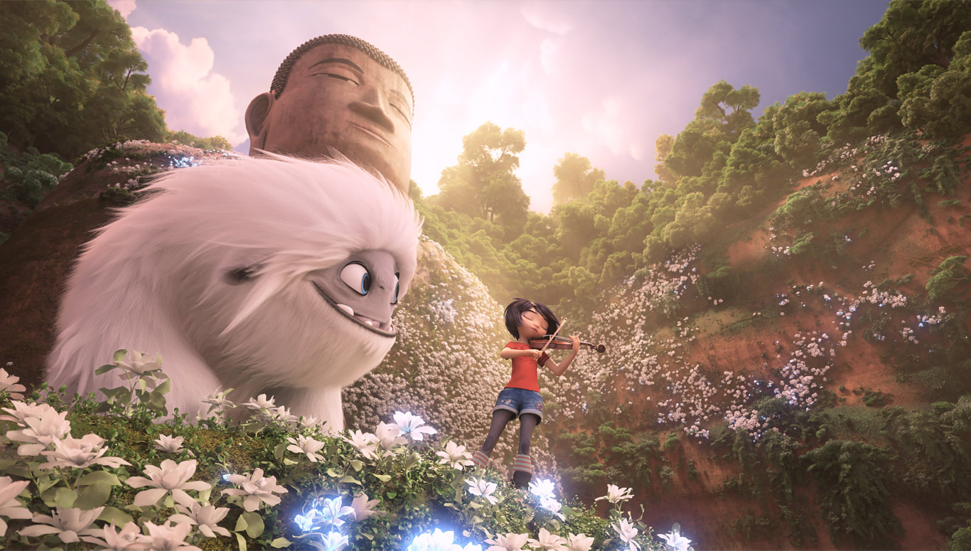 Everest and Yi (voiced by Chloe Bennet) at the Leshan Buddha in a scene from Abominable.