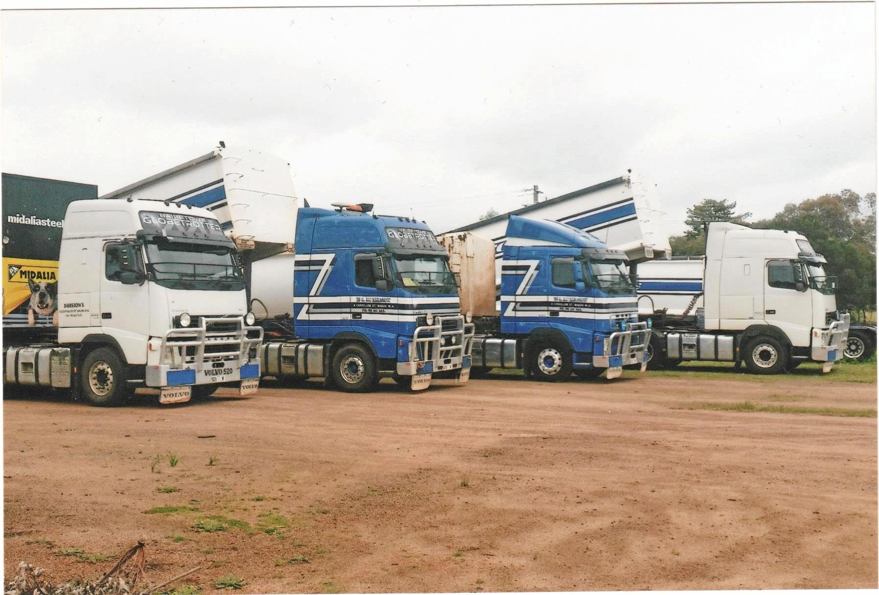 Some of the trucks in the Bairstows' Volvo fleet.
