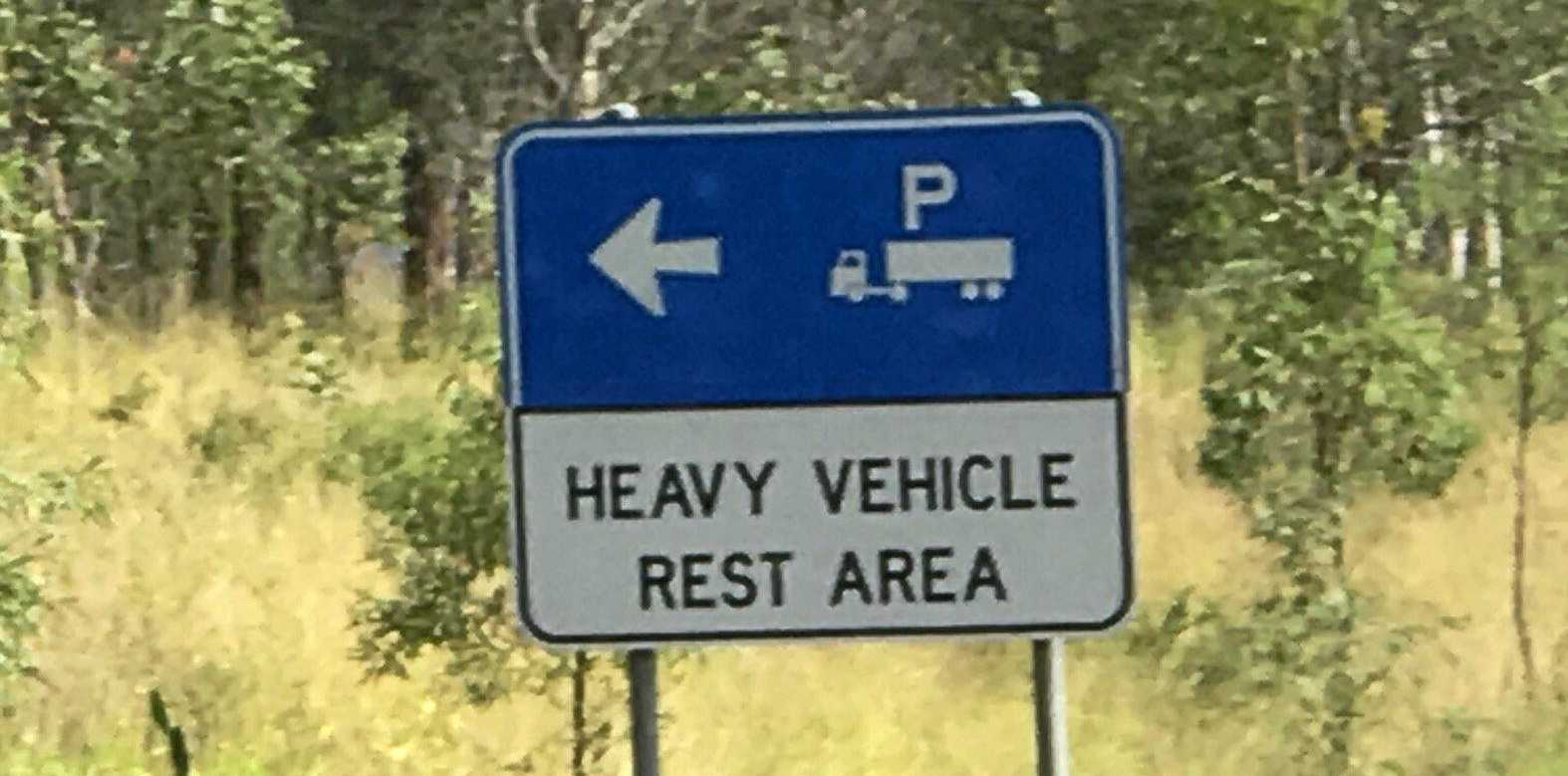 Heavy Vehicle Rest area, road stop, sign, generic