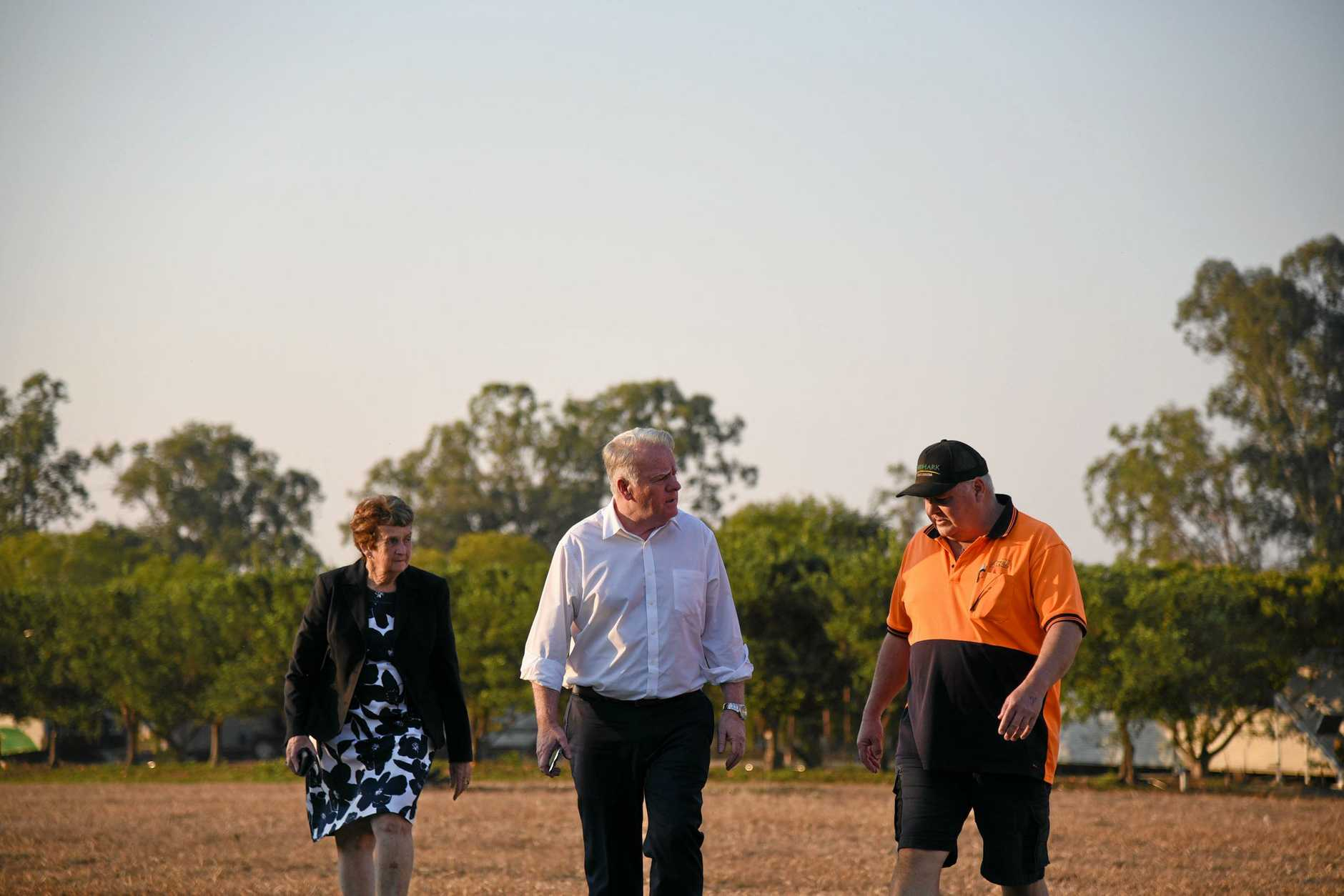 Mundubbera councillor Faye Whelan, Australia's High Commissioner to Tonga Adrian Morrison and 888 Citrus owner Craig Meyer.