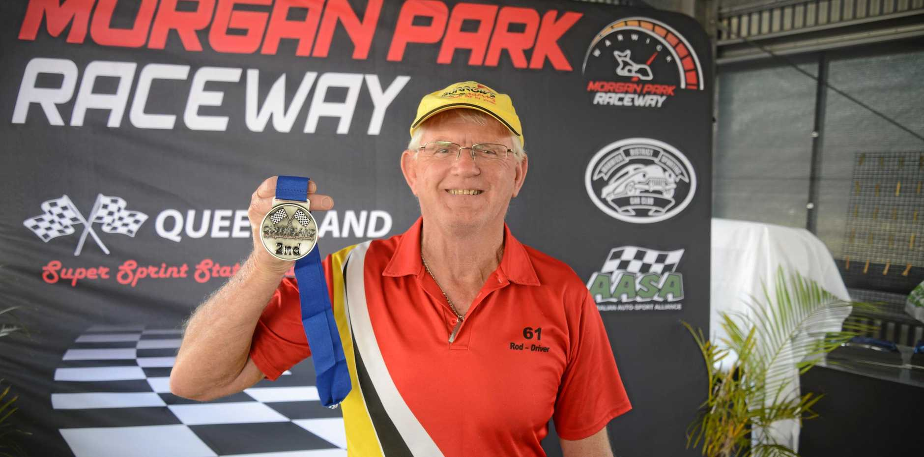 Mackay driver Rod Burrows after a second in class at the Queensland Super Sprints Championships at Morgan Park Raceway.