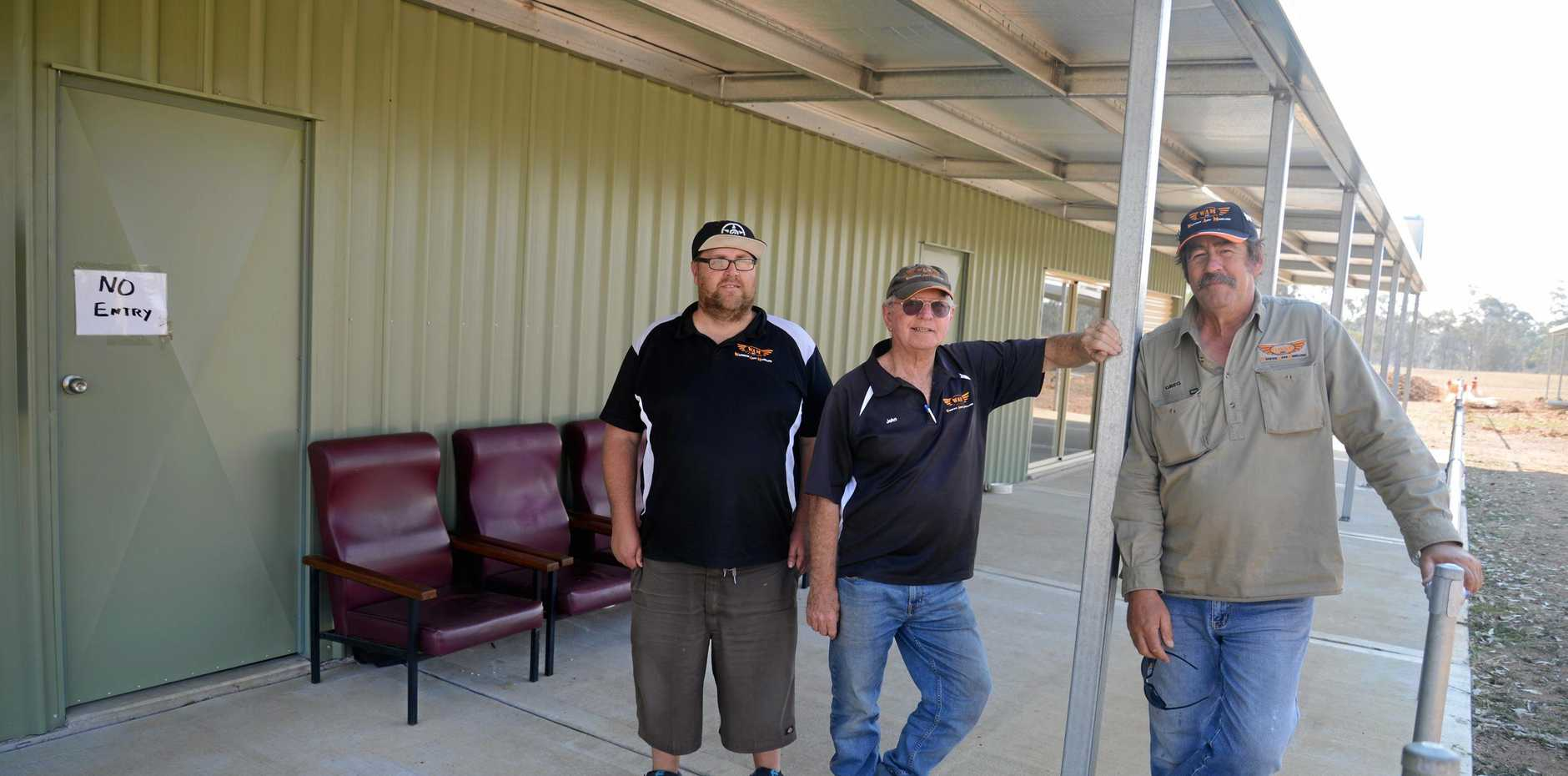 Warwick Aero Modellers (from left) Jason Heard, John Robertson and Greg Barclay at the new clubhouse at Morgan Park.