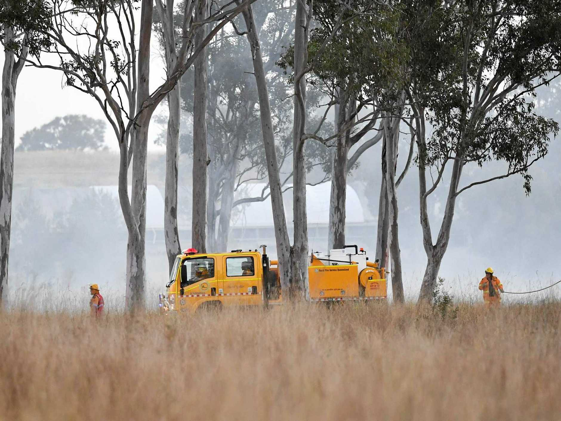 Rural fire brigades at a grassfire at Dundowran, the latest of several reported in the near Gympie-region area.