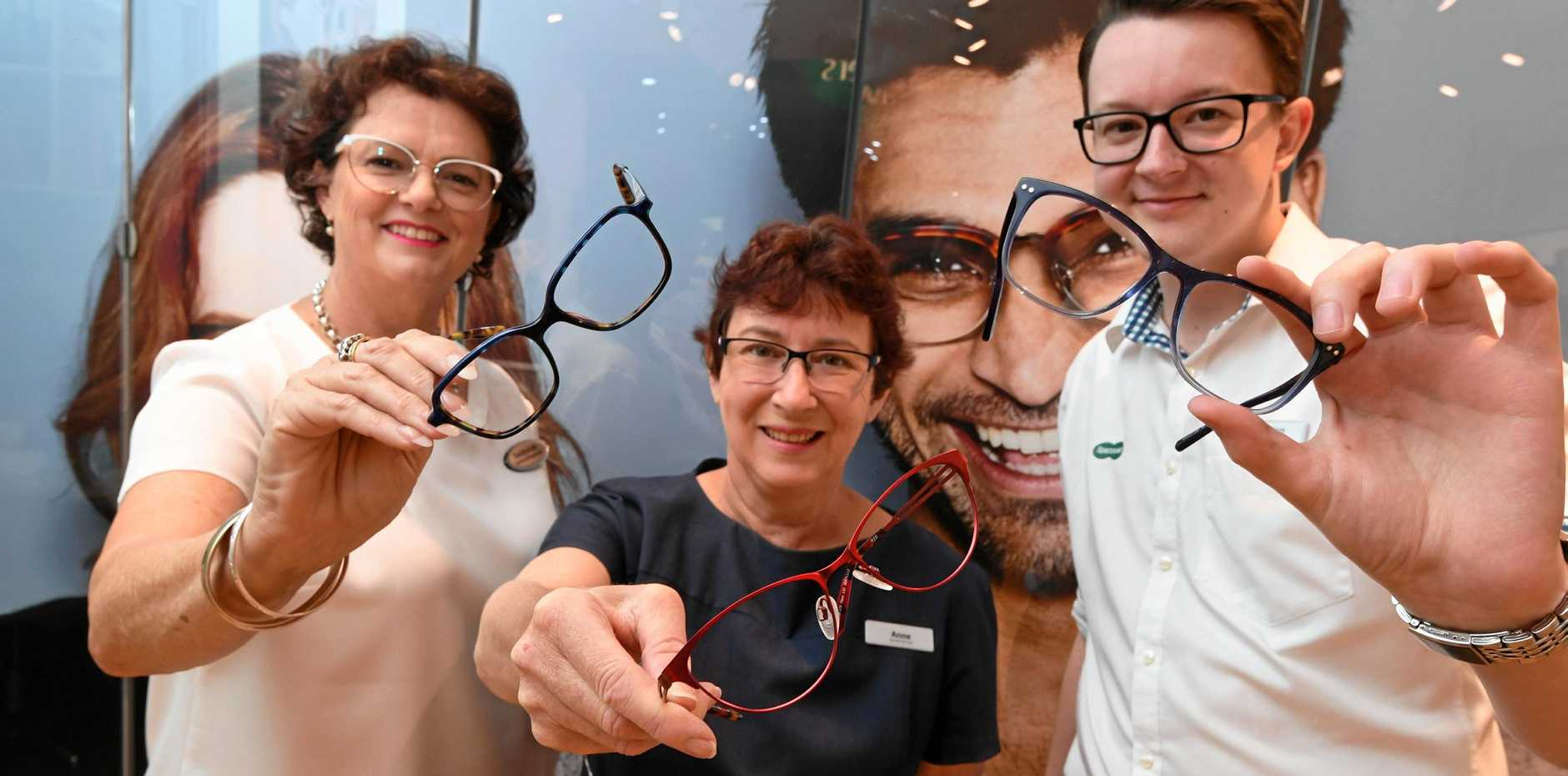 SAVING EYESIGHT: Deborah Smith, Anne Burrows-Jung and Brandon Lee with donated second hand glasses to be reused.