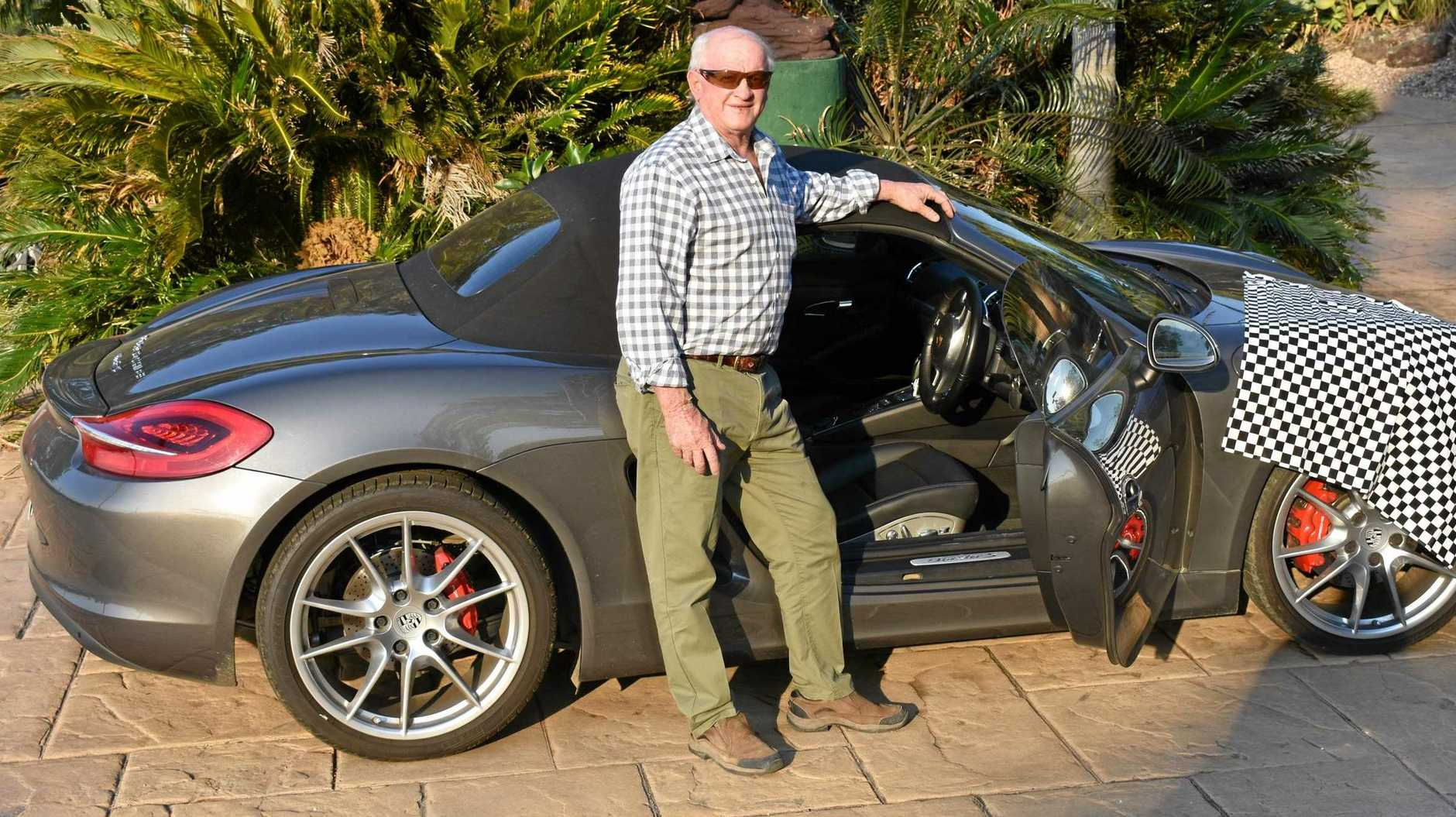 ABOVE: John Graham from Grahams Concrete in Kyogle has accepted the challenge to race his Porsche against Jack Parker's Mustang at the drag races in Casino on Sunday.