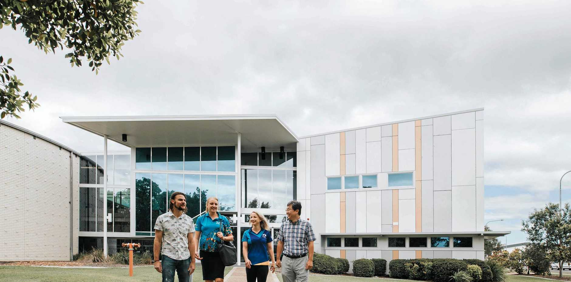 ON THE MOVE: Michael Zimmermann, Tanya Jackson, Amy Stephenson and Ghiuwon Kim at USC's Fraser Coast campus.