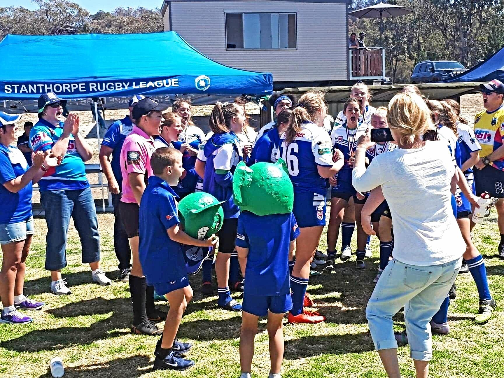 The Stanthorpe under 17 ladies league tag team celebrate a victory on Saturday at Sullivan Oval.