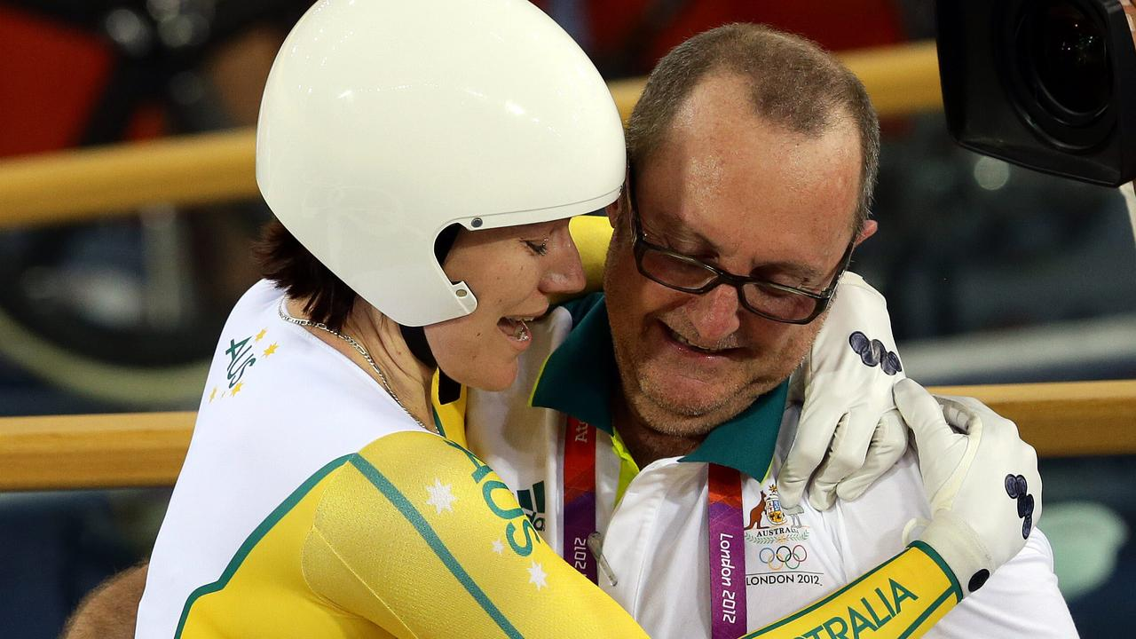 Anna Meares celebrates her London Olympics gold medal with departed team coach Gary West. Picture: Adam Head