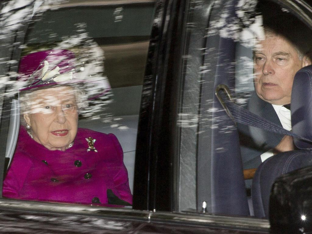Britain's Queen Elizabeth arrives with her son Prince Andrew, at Crathie Kirk to attend a Sunday morning church service near Balmoral, Scotland. Picture: AP