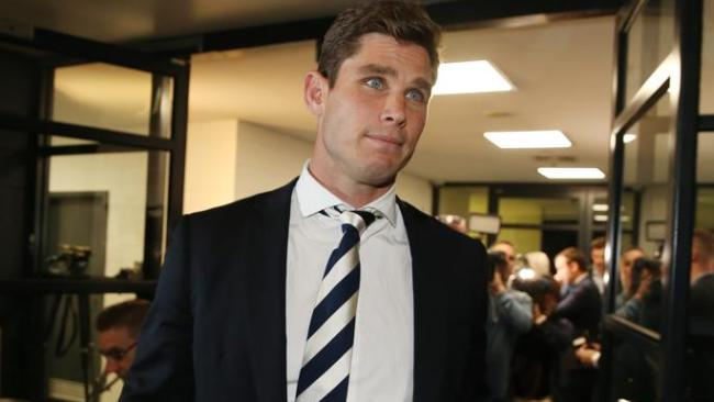 Tom Hawkins leaves the tribunal after failing to have his striking ban overturned. Picture: Michael Klein