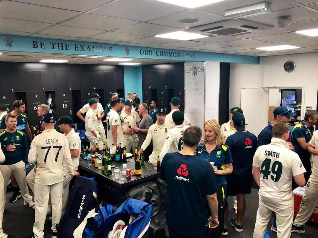 The scenes of Australia and England coming together at the end of a very long series.