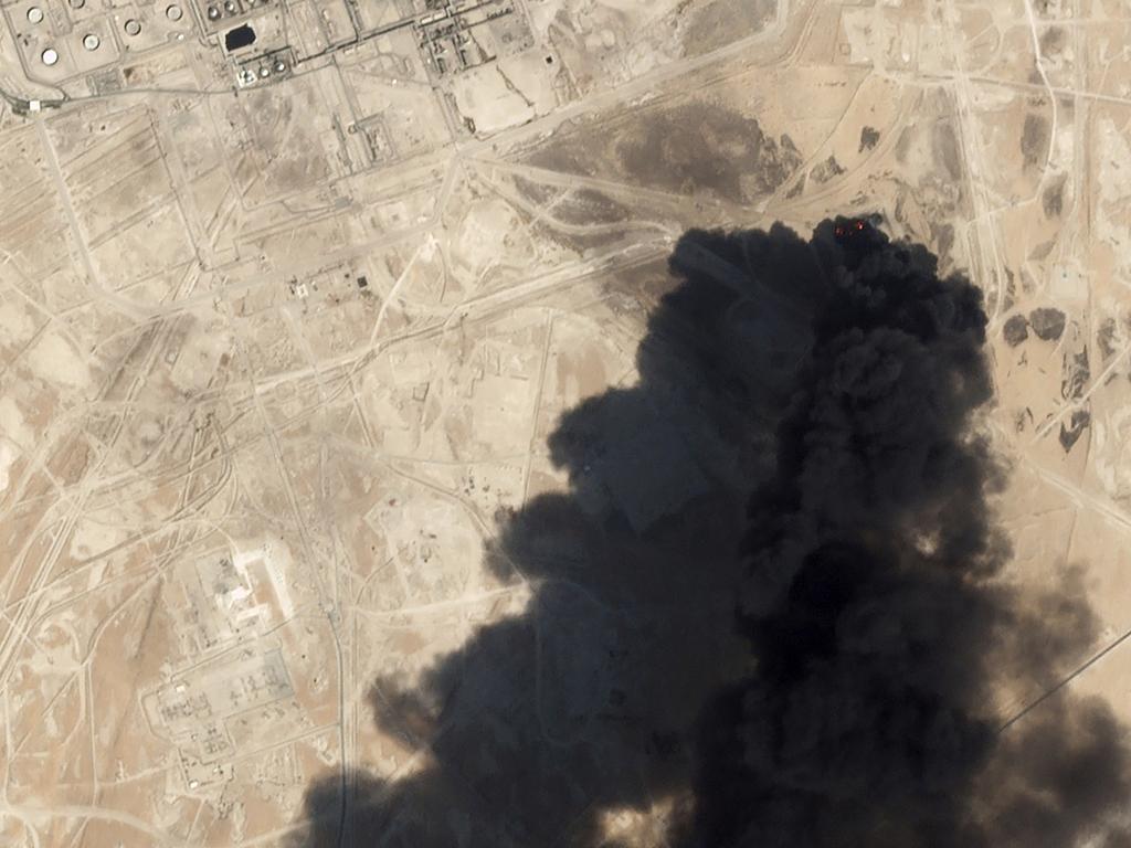 Satellite image shows thick black smoke rising from Saudi Aramco's Abqaiq oil processing facility in Buqyaq, Saudi Arabia. Picture: Planet Labs Inc via AP