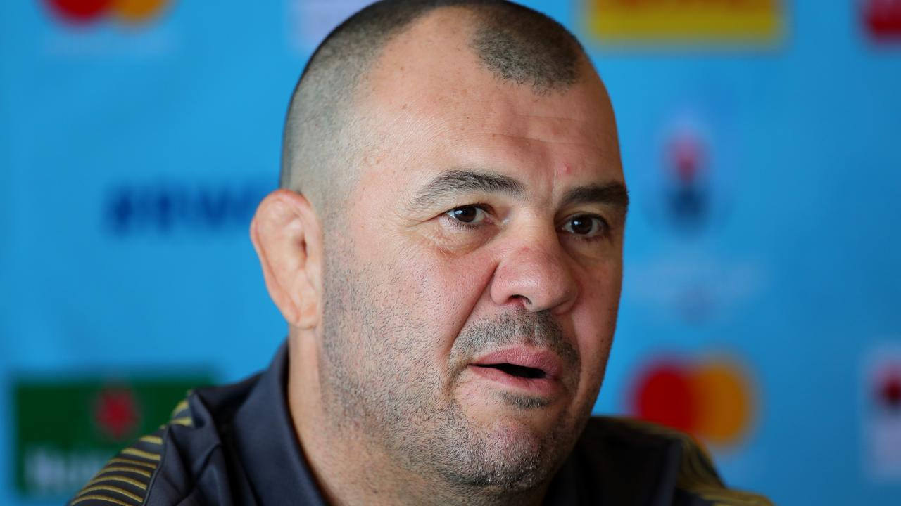 Michael Cheika speaks to the media during a Rugby World Cup press conference.