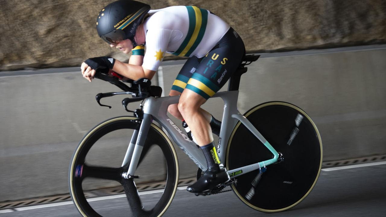 Pro Racing Sunshine Coast team member Alistair Donohoe won gold during the Time Trial at the Para-cycling World Championship. Picture: Casey B. Gibson