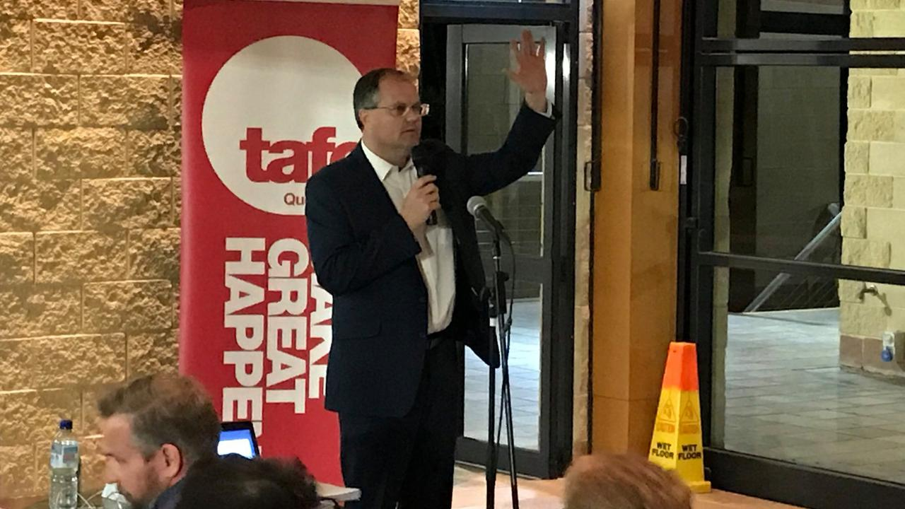 Fairfax MP Ted O'Brien speaks to a 100-strong crowd of people gathered to discuss the future of Nambour.