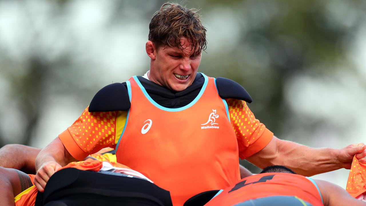 Wallabies captain Michael Hooper at training in Odawara. Picture: Getty Images