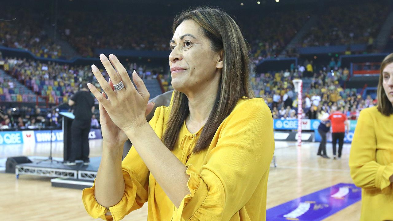 Departing Sunshine Coast coach Noeline Taurua thanks the crowd after the loss during the Super Netball Grand Final match between the Sunshine Coast Lightning and the Sydney Swifts at Brisbane Entertainment Centre on September 15, 2019 in Brisbane, Australia. (Photo by Jono Searle/Getty Images)