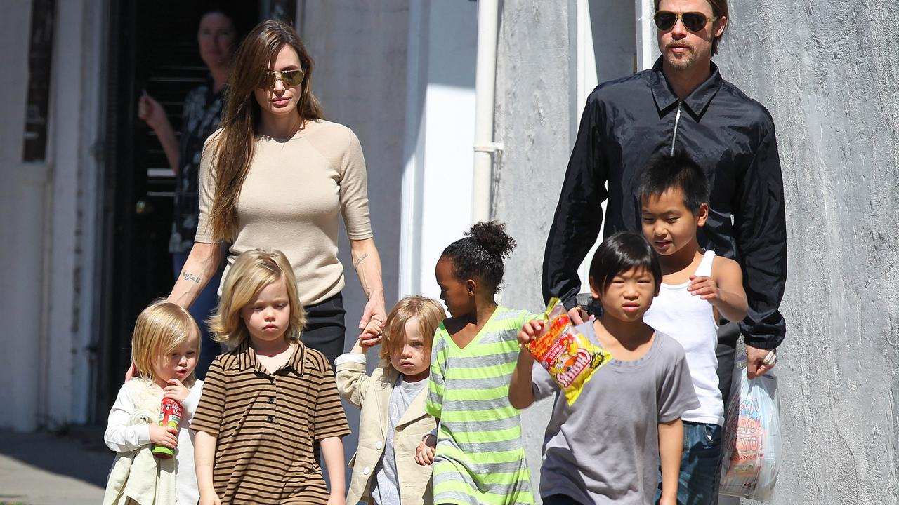 Brad Pitt, Angelina Jolie and their six children. Picture: Splash.
