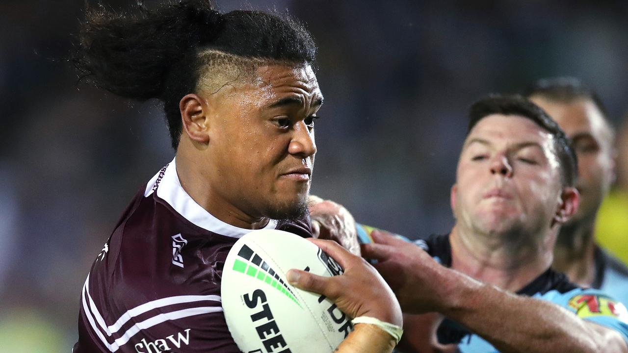 Manly's Moses Suli was nigh-on unstoppable against the Sharks at Lottoland. Picture. Phil Hillyard