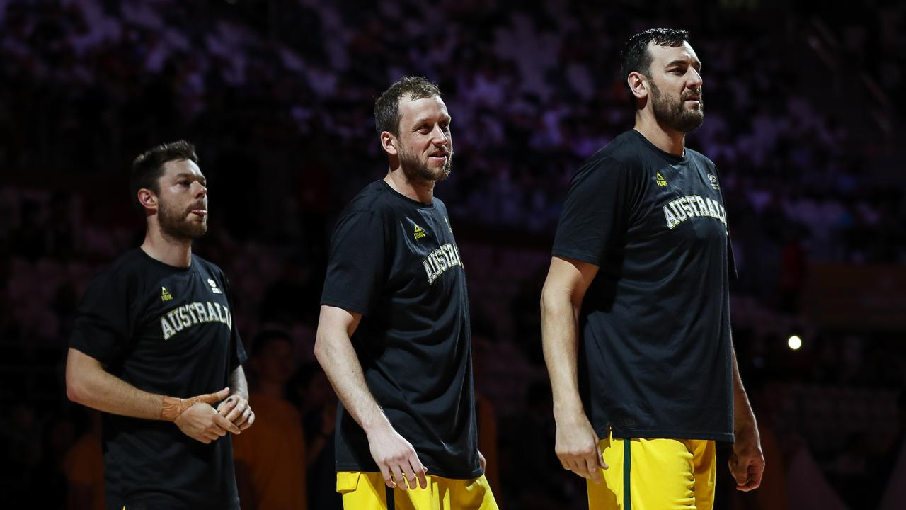 (L to R) Boomers Matthew Dellavedova, Joe Ingles and Andrew Bogut at the 2019 FIBA World Cup. Picture: Yifan Ding/Getty Images
