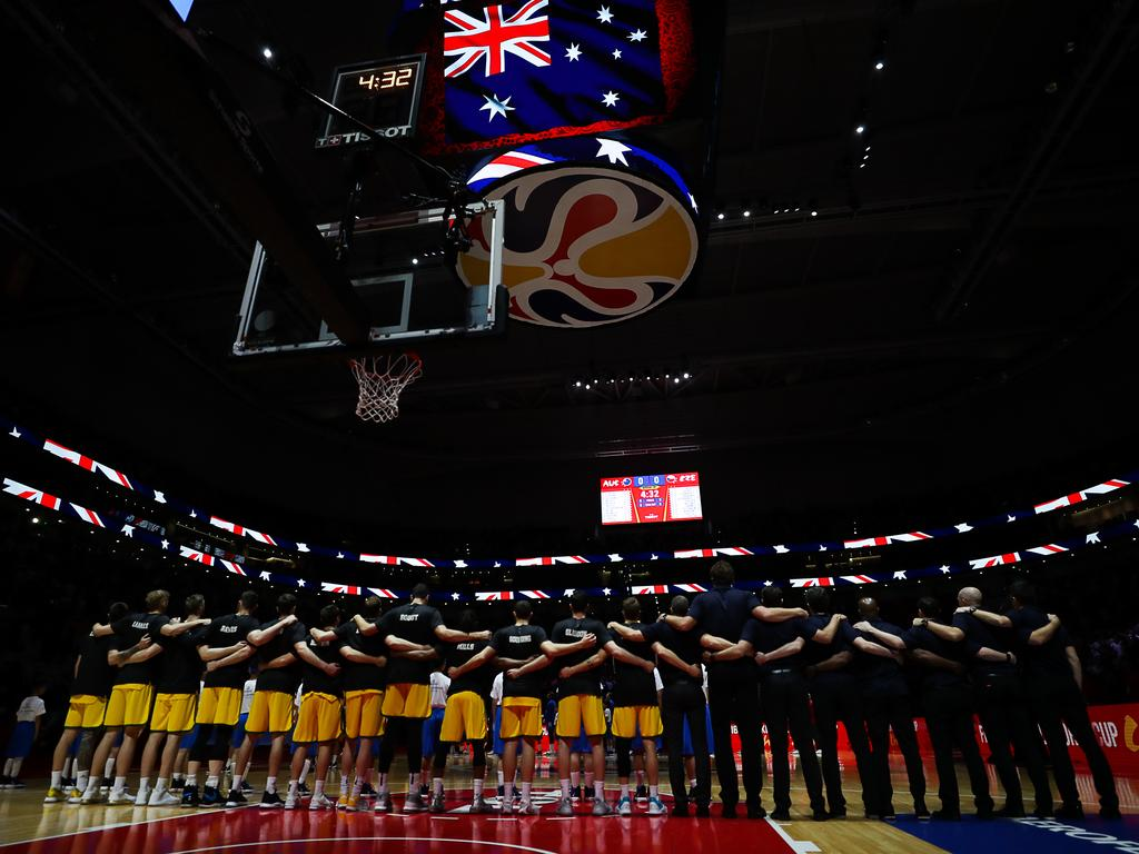 The Australian team to sing the national anthem prior to the quarterfinal of the 2019 FIBA World Cup. Picture: Yifan Ding/Getty Images