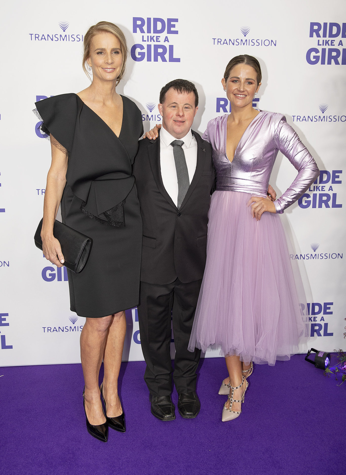 (L-R) Director Rachel Griffiths, Stevie Payne and Michelle Payne during the world premiere of Ride Like A Girl in Melbourne.
