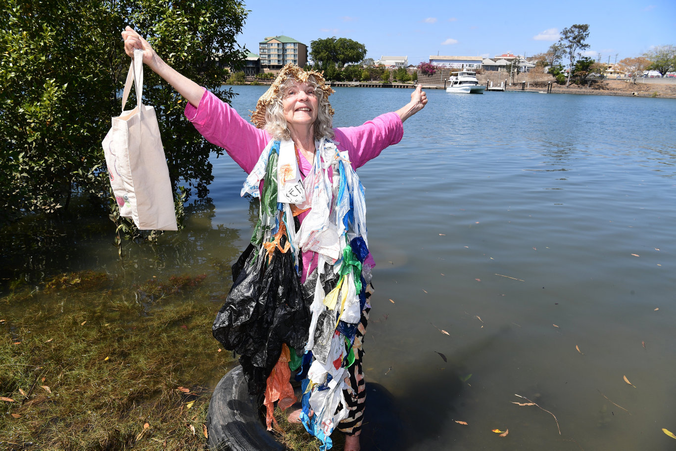 Bag Lady Shirley Lewis is in Bundaberg to encourage the community to be more aware of how their use of plastic can impact the environment.