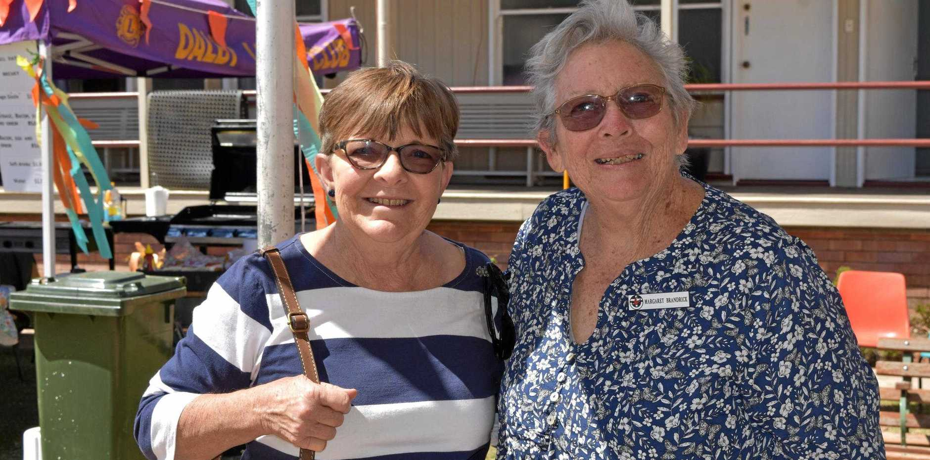 MARKET DAY: Audrey Fresser and Margaret Brandrick at the annual Dalby Uniting Church market day and garage sale.