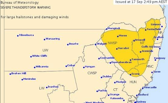 A severe thunderstorm warning has been issued for parts of Northern NSW.