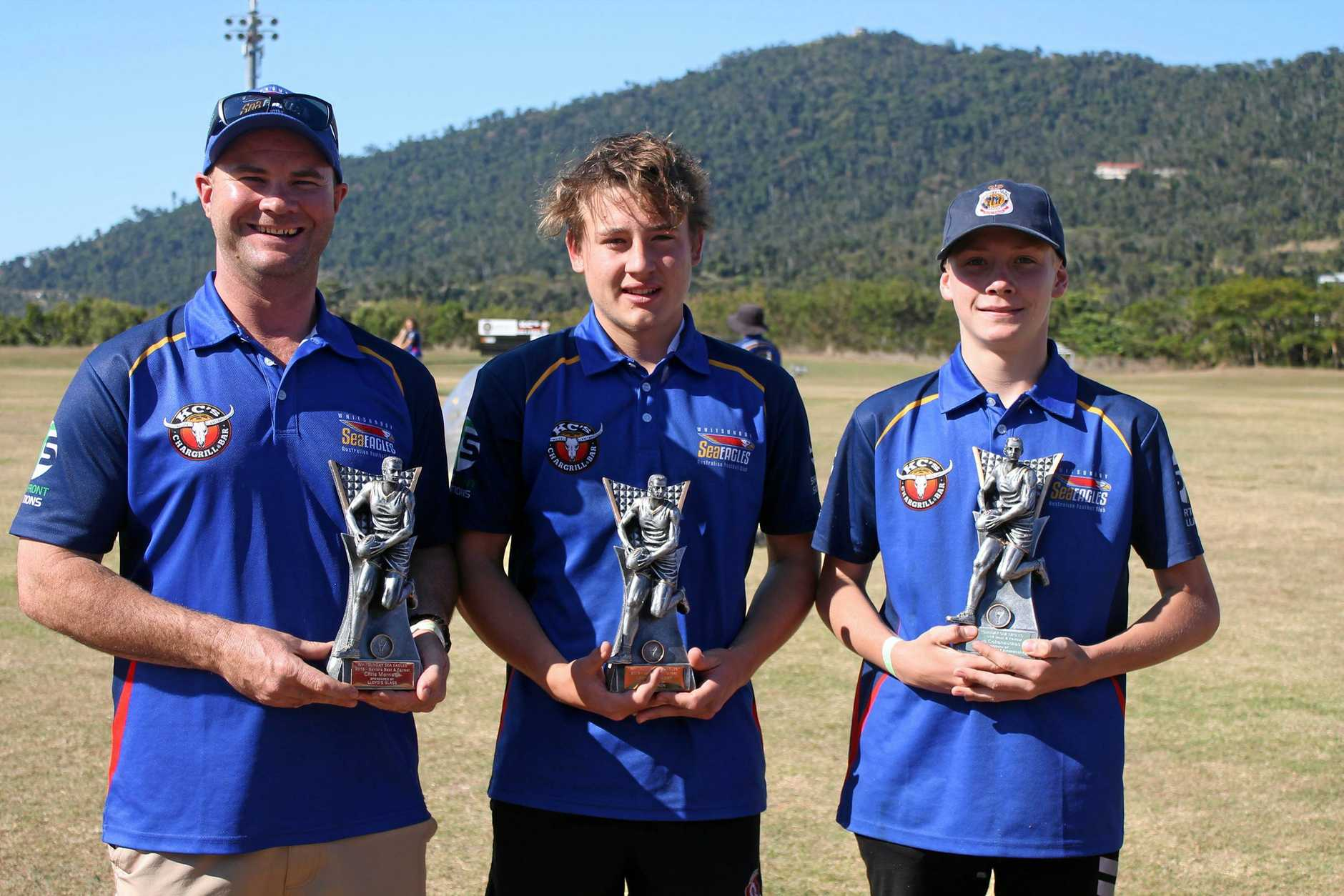 Whitsunday Sea Eagles 2019 Best and Fairest recipients Seniors Chris Morrison, Under 17's Lachlan Draper and Under 14's Spiro Cekanauskas.