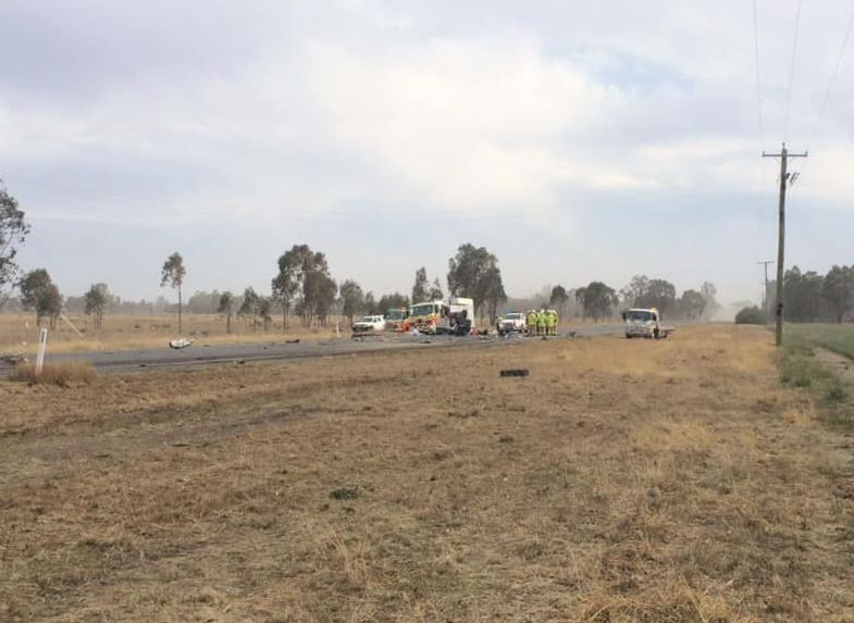 The scene of the crash on the Gore Highway 8km east of Millmerran. Photo: WIN NEWS Toowoomba