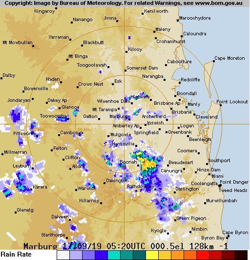 The Toowoomba rain radar about 3.30pm