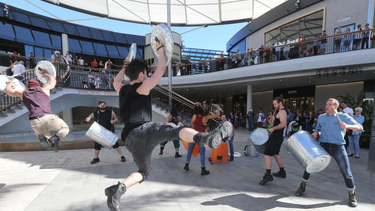 The central areas of the Gold Coast's Pacific Fair shopping centre is great for drumming but not for way-finding. Picture: Mike Batterham