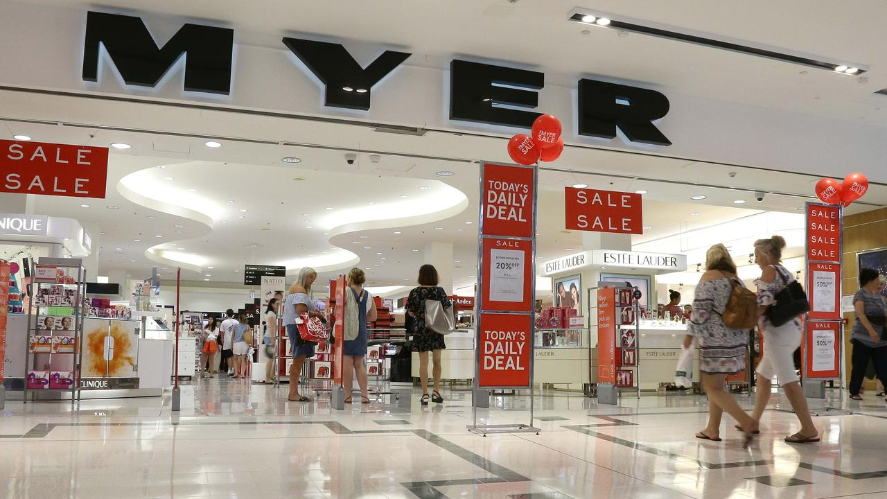 Shops that appeal to the same customer crowd around big stores like Myer. Picture: Tertius Pickard
