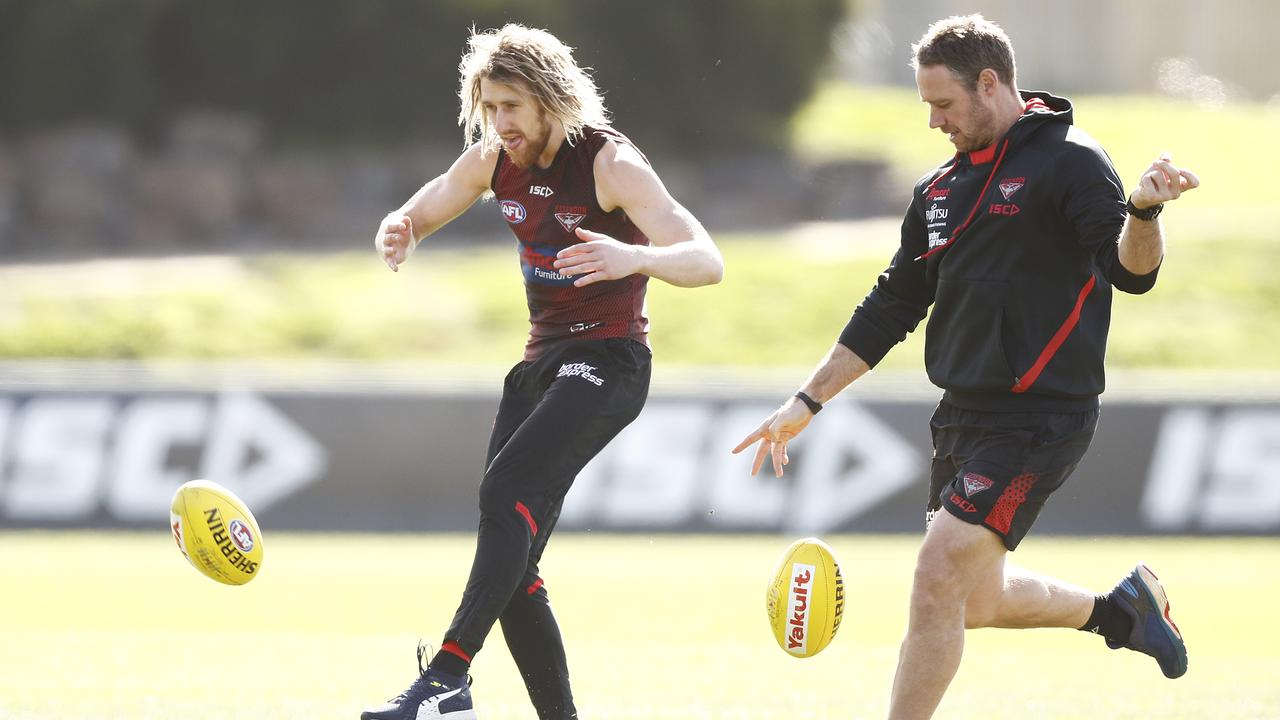 Ben Rutten (right) will coach Essendon in 2021. Photo: Daniel Pockett/Getty Images.