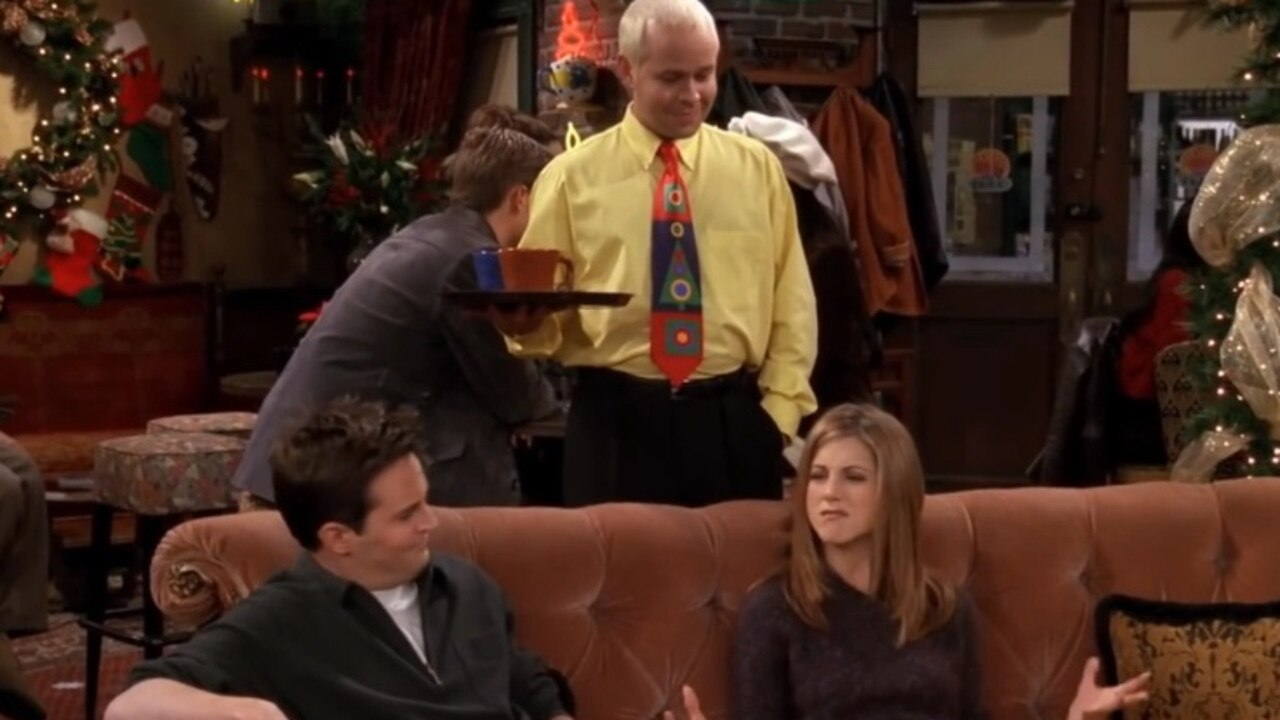 Matthew Perry (Chandler), James Michael Tyler (Gunther) and Jennifer Aniston (Rachel) in Central Perk.