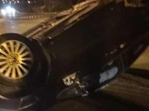 Car flips after hit in alleged hoon race