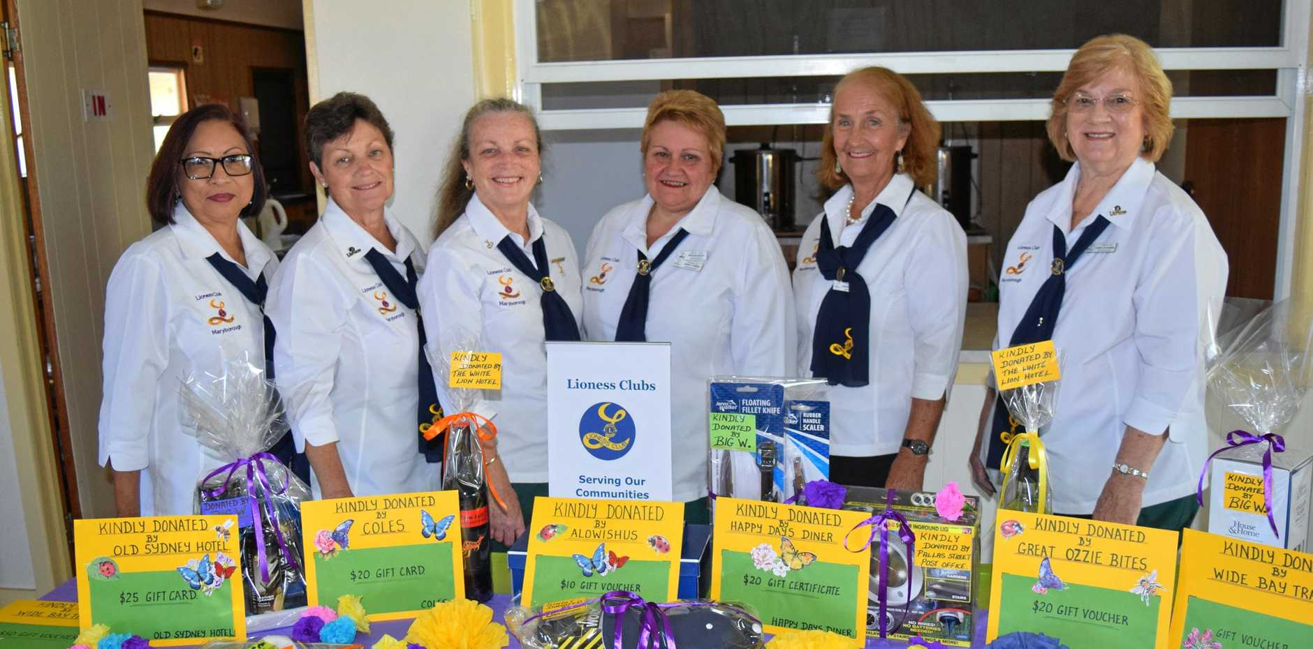 Maryborough Lioness members (from left) Pilar Wyatt, Jacinta Mathiesen, Jillian Alston, Jenny Loring, Joanne Jones and Carolyn Hansen show off some of the prizes for their Swing into Spring fundraiser.