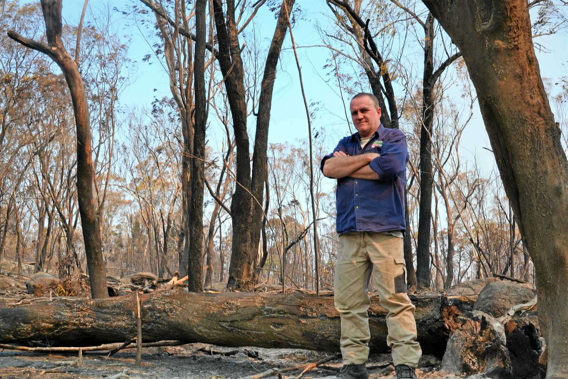 LIKE NOTHING ELSE: Graham Parker, of Ballandean Rural Fire Service, in the aftermath of the unprecedented Cyprus Ridge fire.