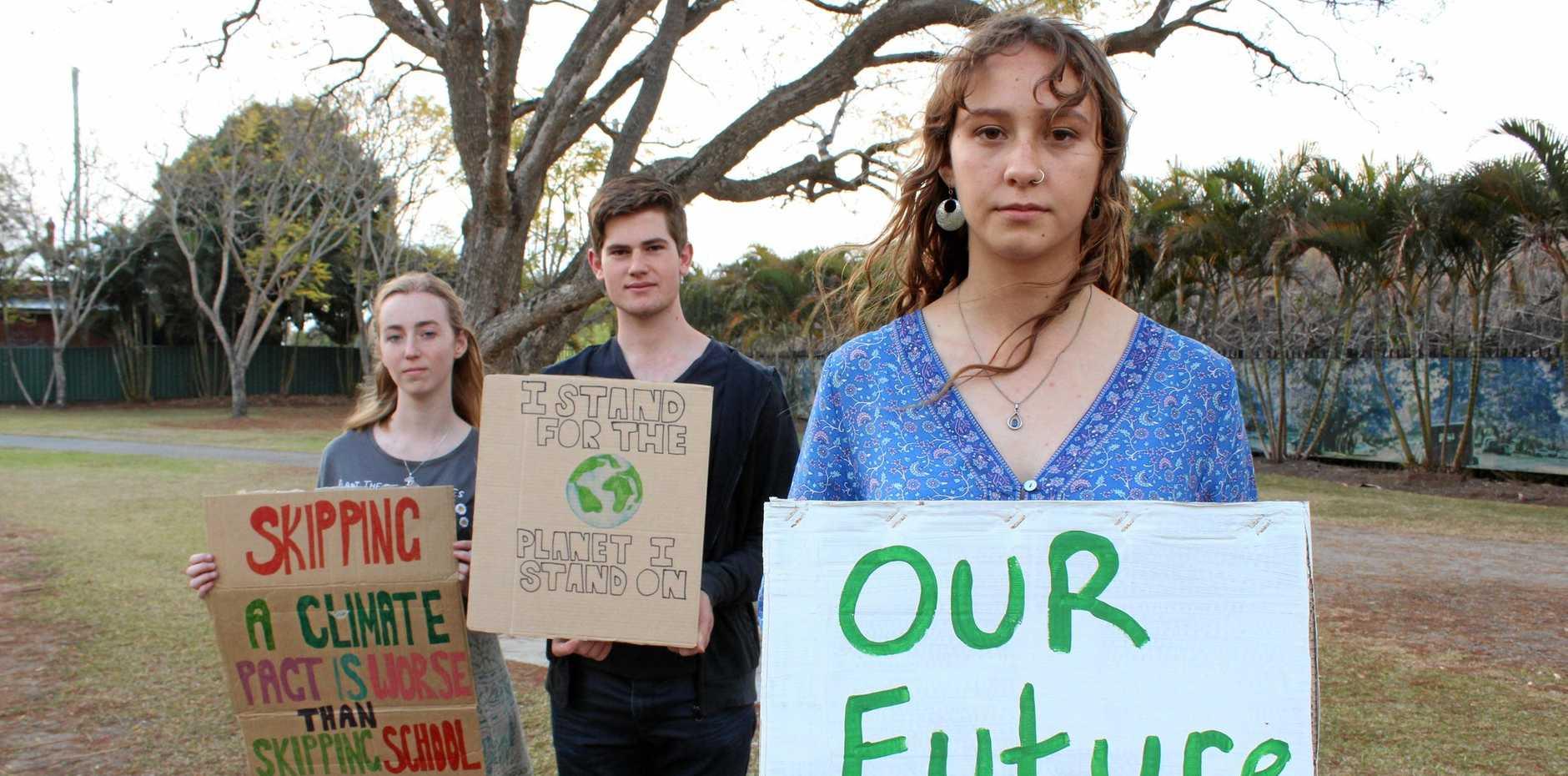 Rachel Sloan, Odin Sage, Shiann Broderick at Market Square before the School Strike 4 Climate.