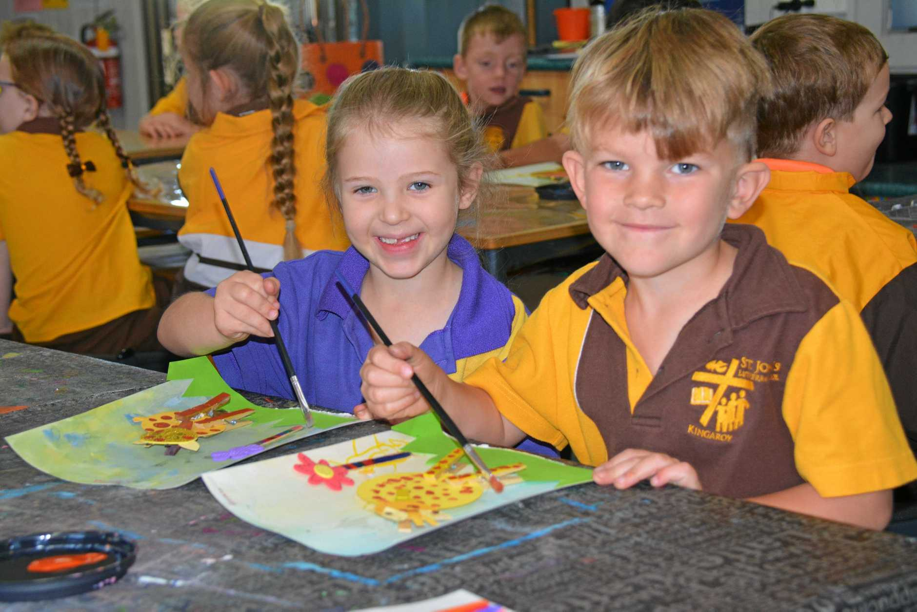 St Johns prep students in art class: Sienna Kenyon and Beau Fuller-Sandys.