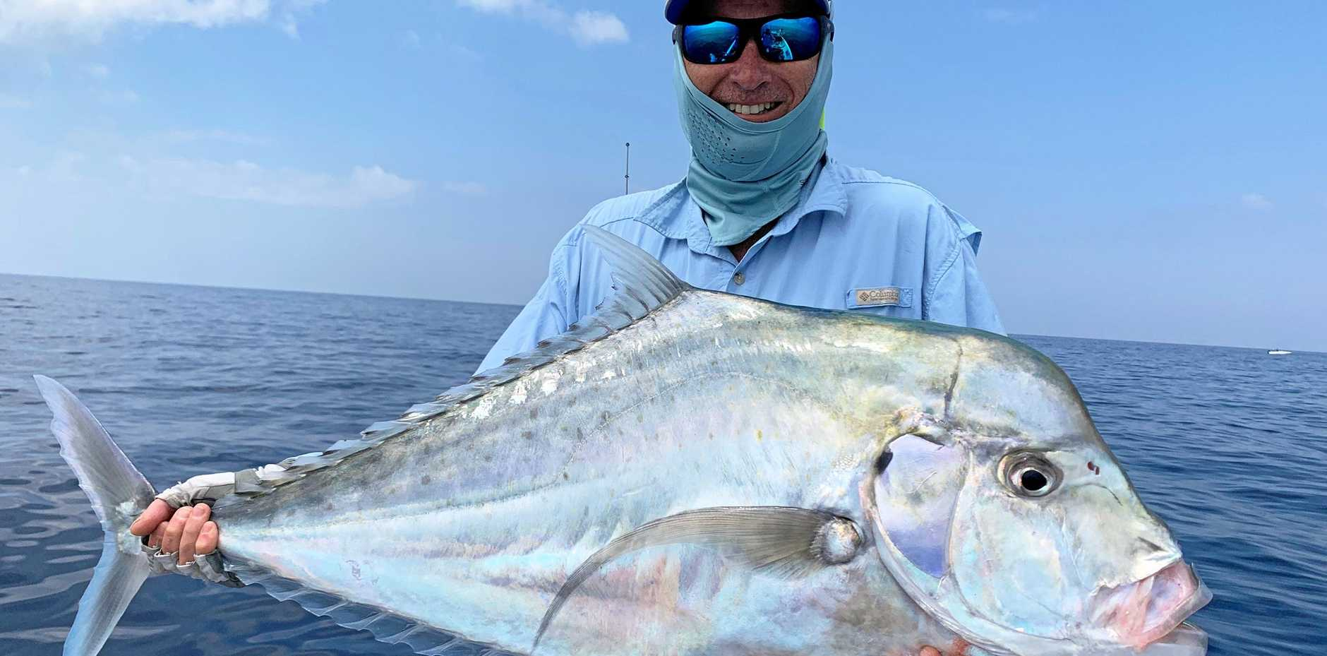 WHAT A WHOPPER! This big diamond trevally was the catch of the day for Paul Cornwell, caught off Arch Cliffs.