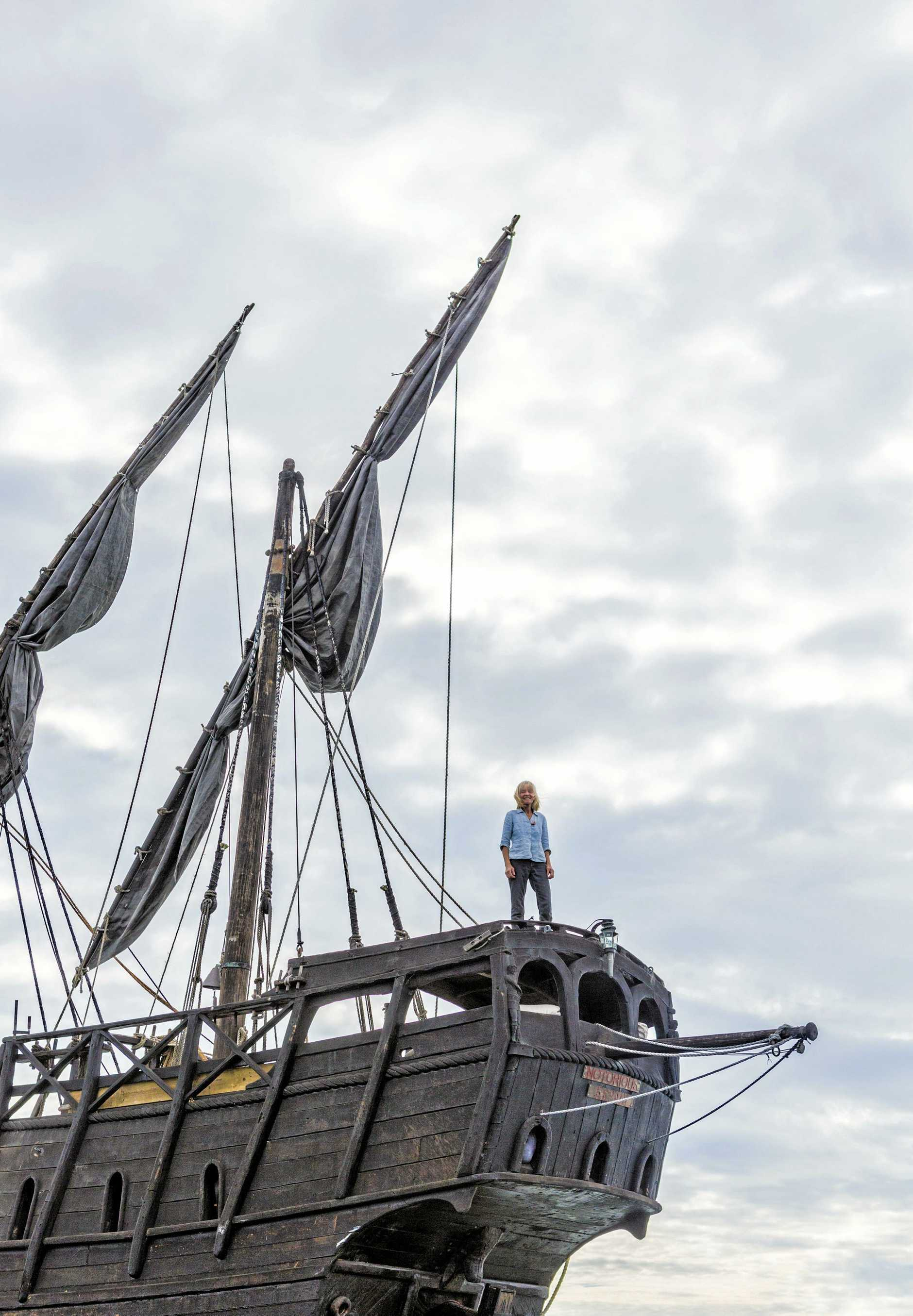 Felicite Wylie - owner of the Notorious - a replica 15th century Spanish caravel - moored in Iluka Bay at the moment. Photo Adam Hourigan / The Daily Examiner