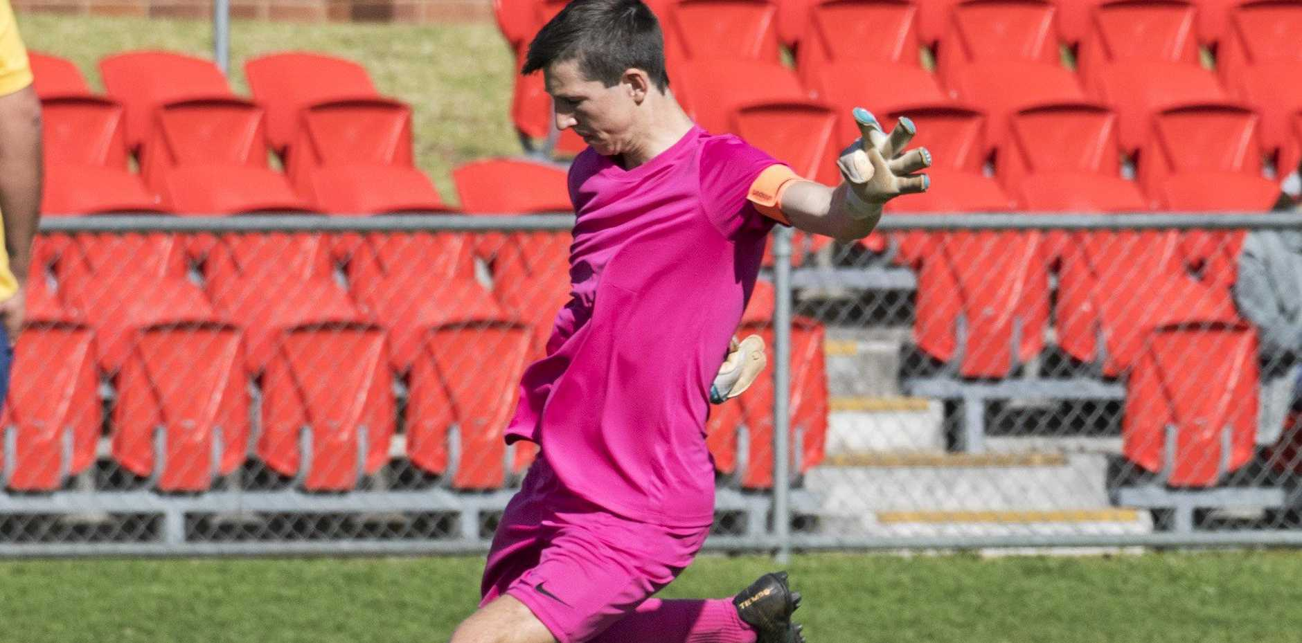 BEST OF SPORT: West Wanderers Wahoos keeper Scott Quick sends the ball downfield during the Toowoomba Football League under-14/15A grand final. Voting is now open for The Chronicle's Best of Sport Junior Soccer Coach.