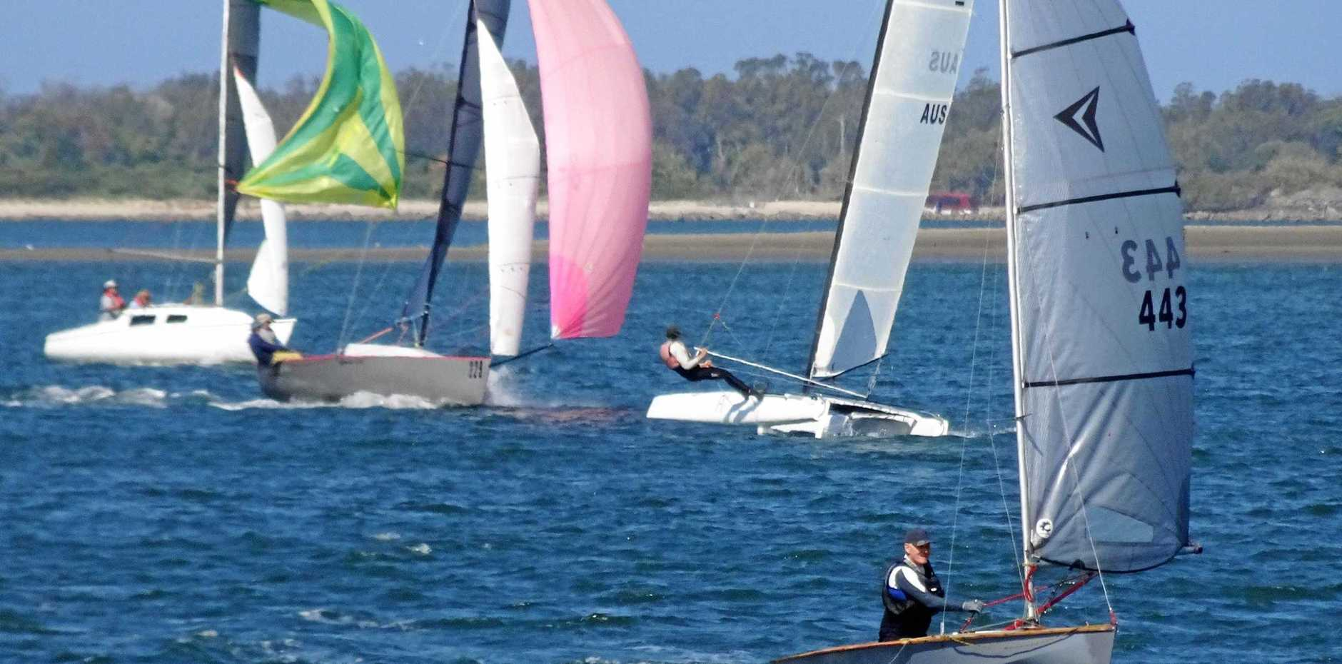 WILD WINDS: Action on the water at Ballina with the Richmond River Sailing and Rowing Club.