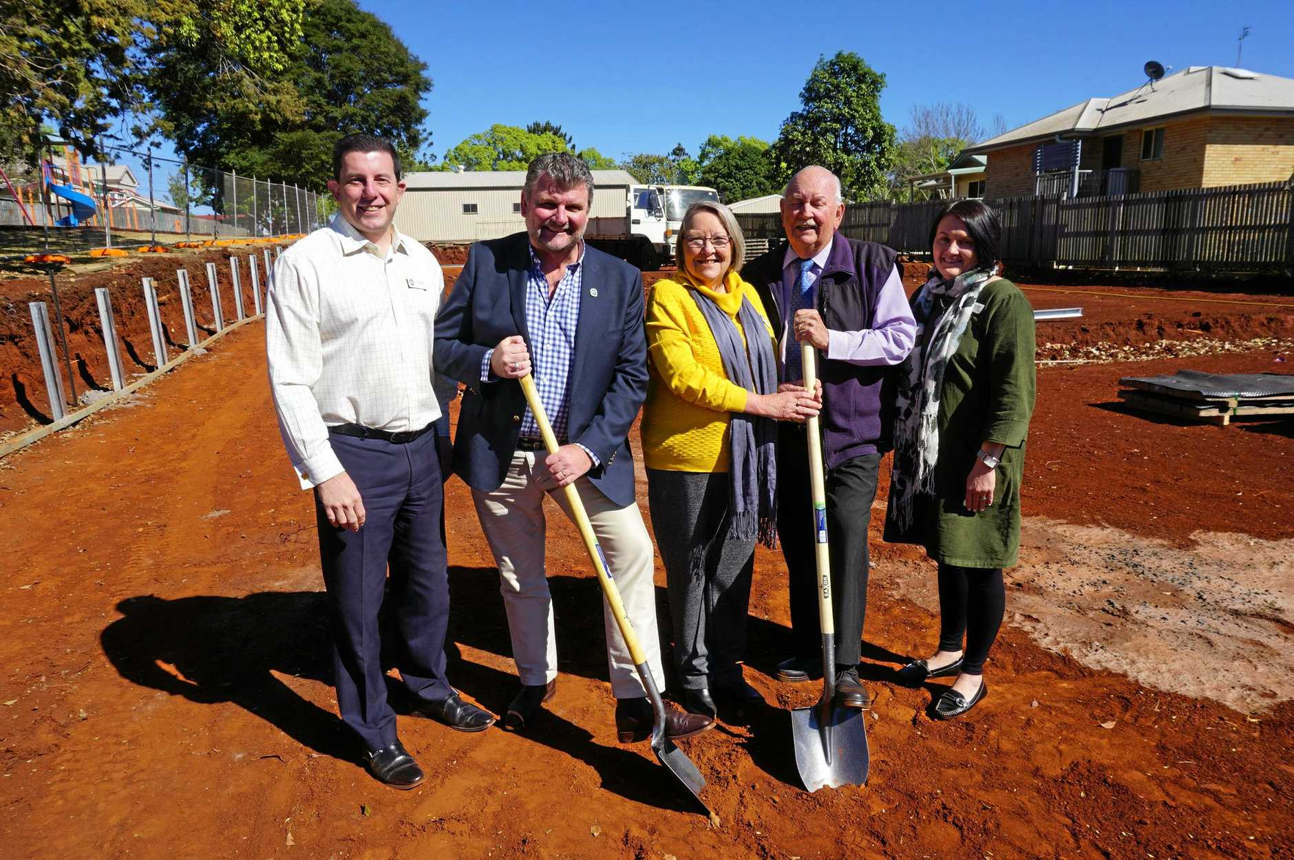 PROGRESS: Breaking ground on the new disability units are (from left) Adrian Bonica, Hand Heart Pocket CEO Gary Mark, YellowBridge Qld CEO Penny Hamilton, Toowoomba and District Masonic Lodge president Barry Hennessy and Jodie Collins.