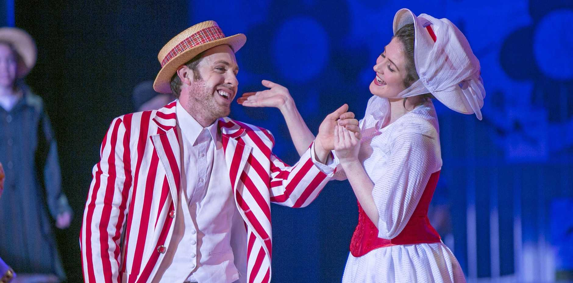 WOULDN'T IT BE LOVERLY: Justin Tamblyn proposed to fellow actress Shannon Gralow during her Saturday performance at the Empire Theatre. The pair are seen here in Mary Poppins, their first performance together.