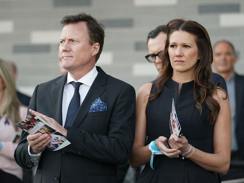 James Brayshaw and Sarah Brayshaw at the service for Danny Frawley. Picture: Scott Barbour/AAP
